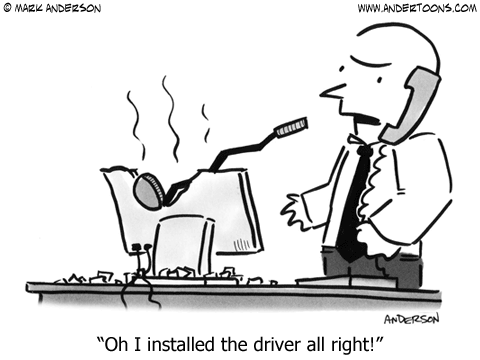 cartoon - golf driver in computer monitor