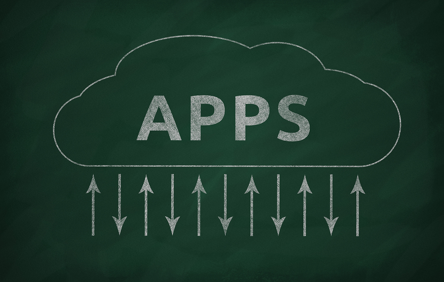 The chalkboard with a cloud apps transferring illustration