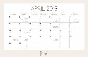 April 2018 Free Downloadable Editorial Calendar