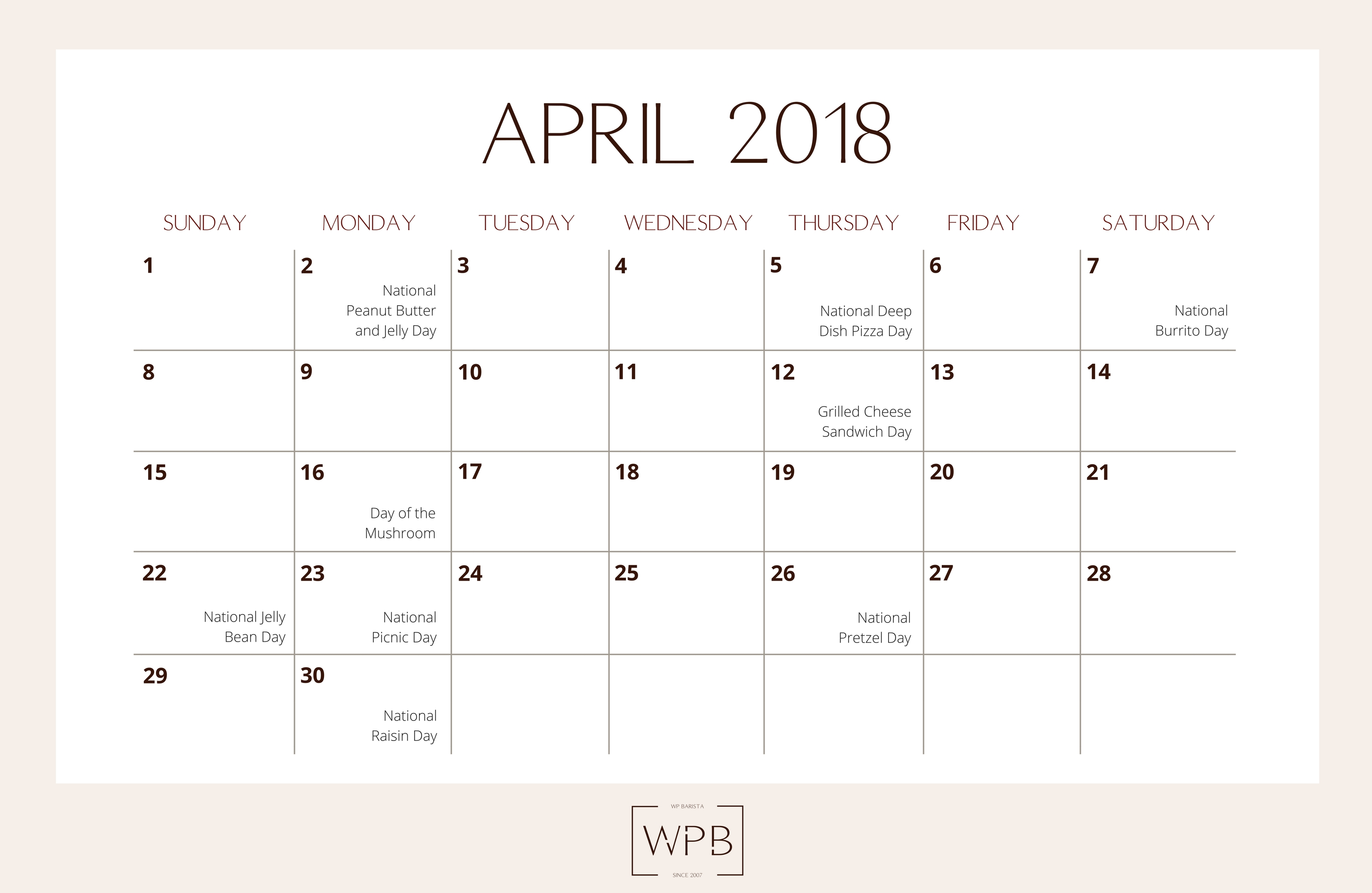 we have you covered this month with this free editorial printable calendar for april 2018