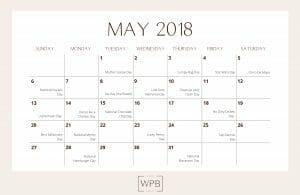 May 2018 Editorial Calendar