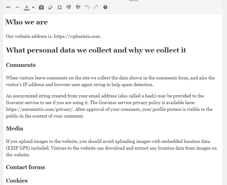 The complete template for a bloggers privacy policy wpbarista edit the wordpress privacy policy template maxwellsz