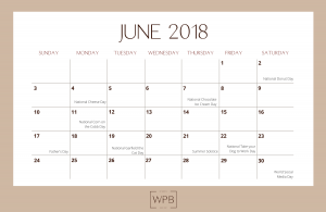 June 2018 Editorial Calendar