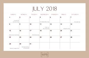 July 2018 Free Editorial Calendar